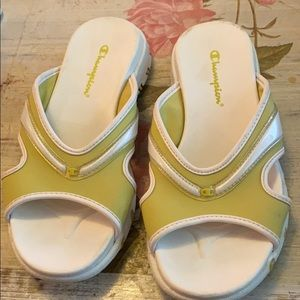 Champion Green and White Slip On Sandals Size 5.5